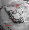 Overhead view showing Motte and Bailey structures