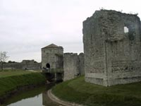 Portchester - Moat around Medieval Norman Keep - Inside Castle